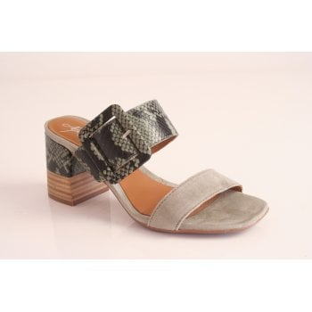 Alpe Pale Green and Snakeskin suede slip on dress sandal (NT12)