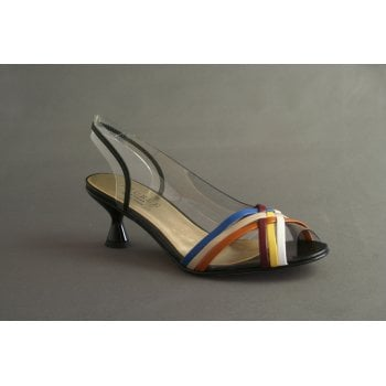 Azurée sling-back with multi coloured cross-over shoe.(NT 34)