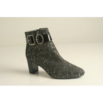 Azurée tweed fabric ankle boot with a patent black heel (NT34)