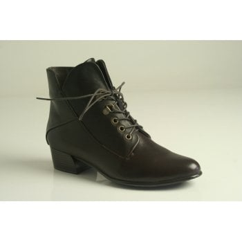 Canal Grande style 'Brigi' brown leather lace up ankle boot with a zip