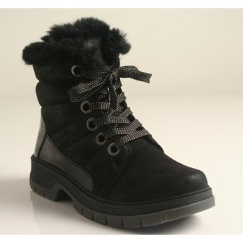 Caprice Black Combi Warm Lined Water Resistant Ankle Boots NT SB55)