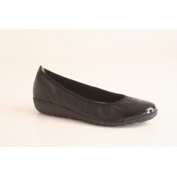 Caprice Black combination pearlised leather ballerina  (NT54)