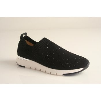 Caprice Black Elasticated slip on shoe (NT59)