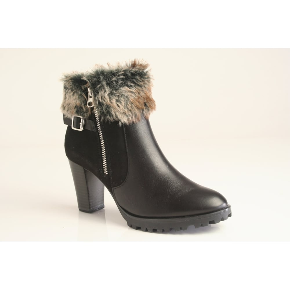 low price sale big sale pretty cheap Caprice Caprice black leather ankle boot with faux-fur trim and ...