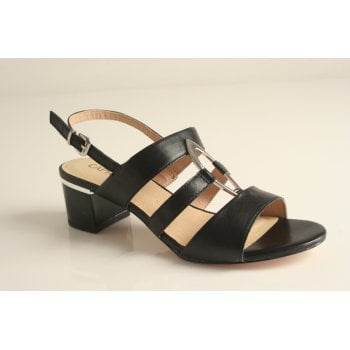 Caprice Black leather heeled sandal (NT63)