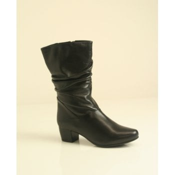 Caprice Black leather three quarter boot