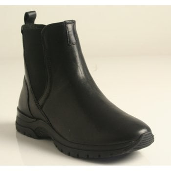 Caprice Black Leather Zip-Up and Elastic Ankle Boot Trainer (NT SB58)