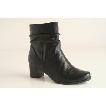 Caprice black ruched leather heeled boot (NT B24)