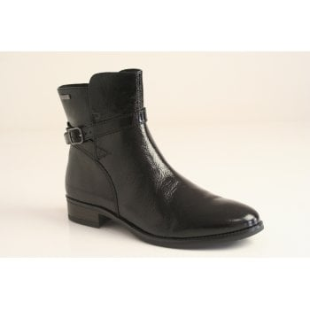 Caprice black soft-patent leather ankle boot