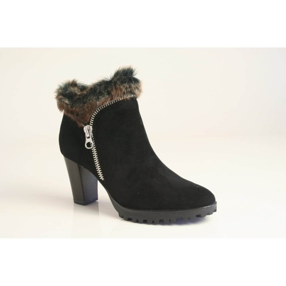 temperament shoes new collection available Caprice Caprice black suede leather ankle boot with faux-fur trim ...