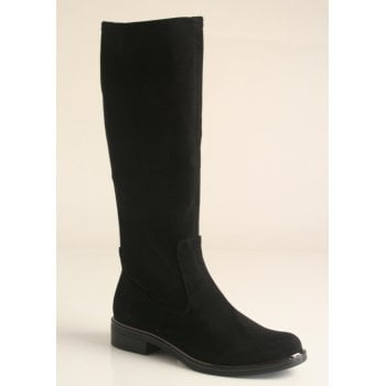 Caprice black suede material pull on long boot