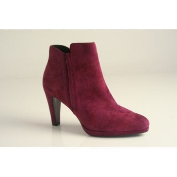 Caprice Bordeaux suede leather heeled ankle boot   (NT20)
