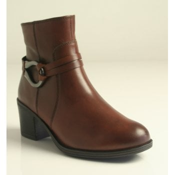 Caprice Brown Zip-Up Ankle Boot (NT SB53)