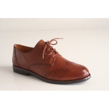 Caprice cognac leather lace-up shoe with 'brogue' detailing (NT86)