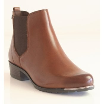 Caprice Cognac Nappa Leather Ankle Boot with Silver Toe Trim (NT SB47)