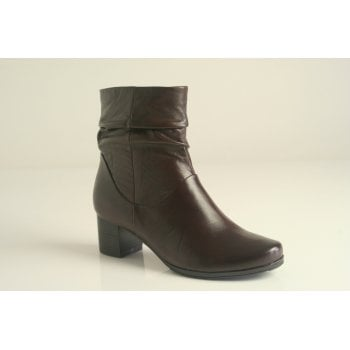 Caprice dark brown ruched leather heeled boot   (NT B26)