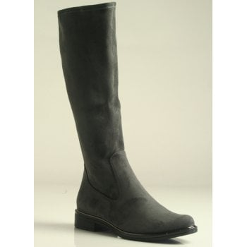 Caprice Dark Grey Knee Length Stretch Faux Suede Boot (NT B57)