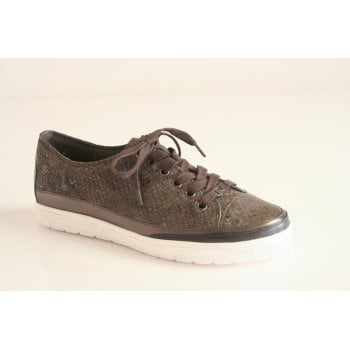 Caprice dark grey leather lace up shoe with 'snakeskin' effect (NT89)