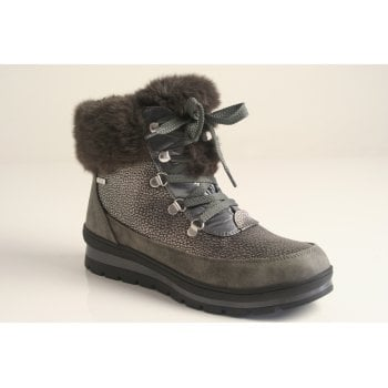 Caprice grey waterproof ankle boot with a fur collar