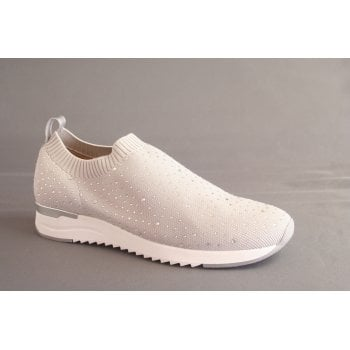 Caprice high cut light grey stretch knit shoe with crystal stud trim (NT97)