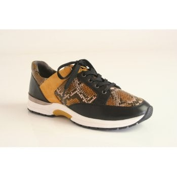 Caprice leather lace-up trainer in mustard and black with 'snakeskin' effect. (NT91)