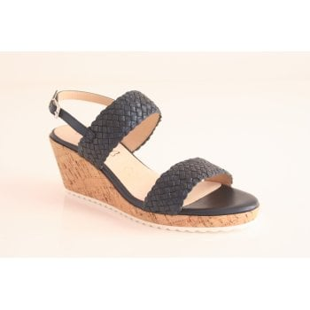 Caprice Navy leather wedge sandal (NT79)