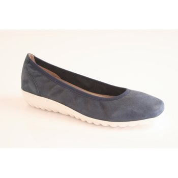 Caprice navy pearlised leather ballerina