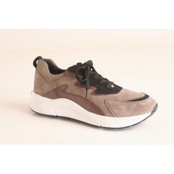 Caprice suede lace-up trainer in taupe and black.  (NT95)