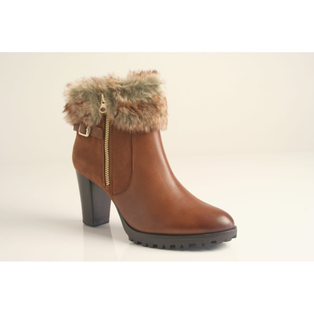best quality nice shoes new list Caprice Caprice tan leather ankle boot with faux-fur trim and zip ...