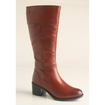 Caprice tan leather long boot with full length zip and small heel