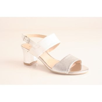 Caprice white and silver leather heeled sandal    (NT13)