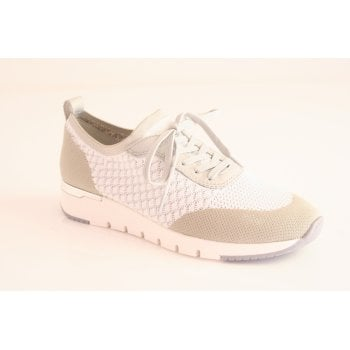 Caprice White Elasticated lace up shoe (NT75)