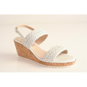 Caprice White leather wedge sandal (NT74)