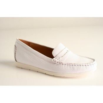 Caprice white naplak leather loafer (NT42)