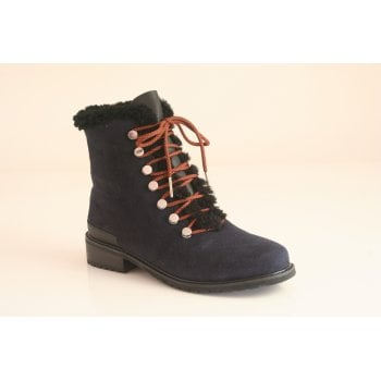 EMU Australia style 'Billington' midnight blue suede leather ankle boot (NT14)