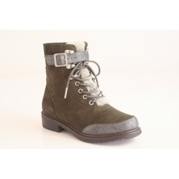 EMU Australia style 'Waldron' Dark Olive suede lace up boot (NT7)