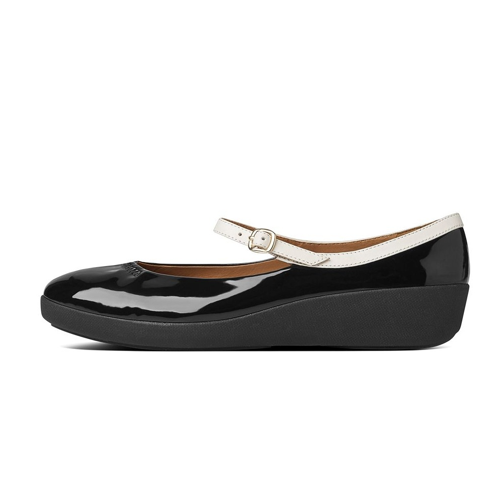 FF2™ collection by FitFlop™ F-POP™ Mary Jane in soft black glossy patent with Supercomff™ sole