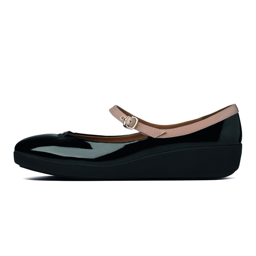 FF2™ collection by FitFlop™ F-POP™ Mary Jane in soft black leather with Supercomff™ sole - from