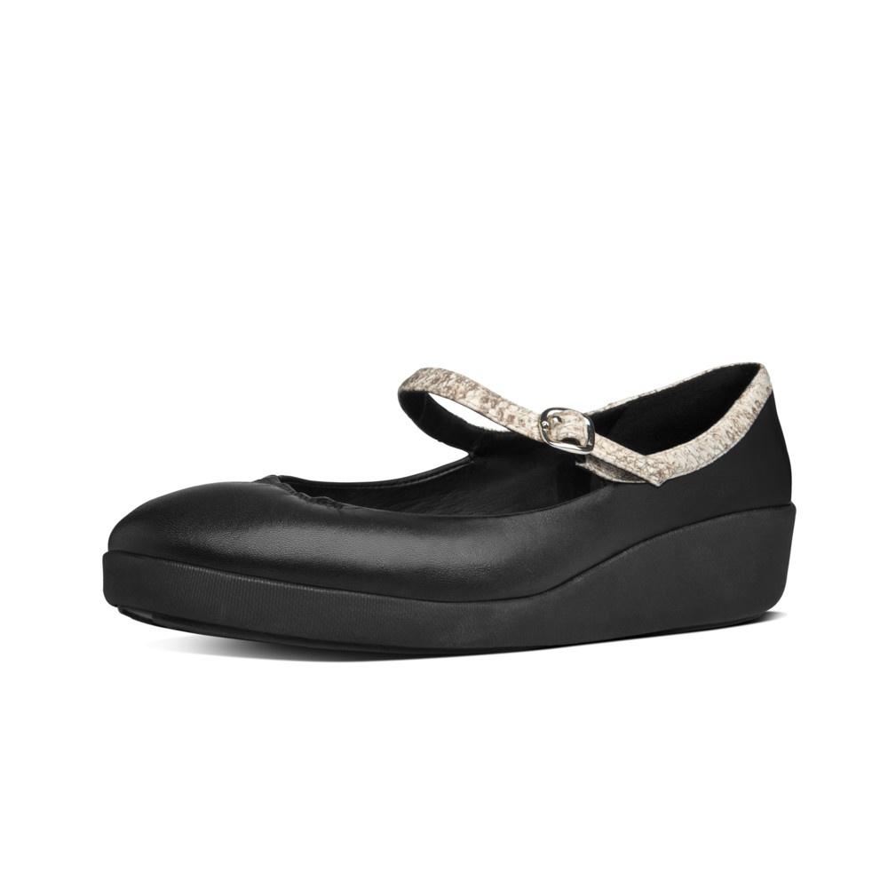 FitFlop™ F-POP™ MARY JANE Ladies Mary Jane Shoes Black   Shuperb
