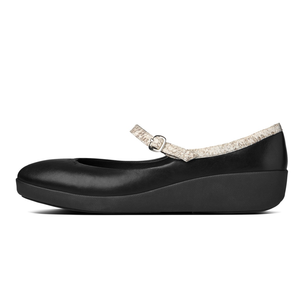 FF2™ collection by FitFlop™ F-POP™ Mary Jane in soft black leather and white lizard effect