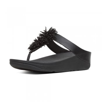 FitFlop™ style 'Fino Pom Pom' black leather toe post with a beaded trim and 'Microwobbleboard' sole