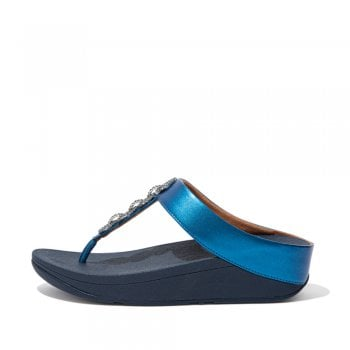 Fitflop style 'Fino Sparkle Toe-Post' Sea Blue leather sandal (NT2)