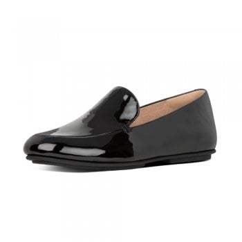 FitFlop™ FitFlop' style 'Lena Patent' black leather loafer with 'Duocomff' technology  (NT7)
