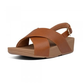 FitFlop™ Fitflop style 'Lulu Cross Back Strap' Light Tan leather sandal (NT19)
