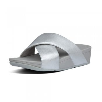 FitFlop™ Fitflop style 'Lulu Cross Slide' Silver leather sandal (NT14)