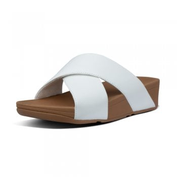 FitFlop™ Fitflop style 'Lulu Cross Slide' Urban White leather sandal (NT14)