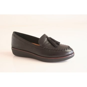 FitFlop™ style 'Petrina' black leather loafer with 'Supercomff' technology  (NT90)