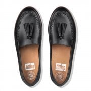 FitFlop™ style 'Petrina' 'Paige' black leather loafer with 'Supercomff' technology  (NT23)