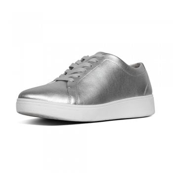 FitFlop™ style 'Rally' silver leather sneaker with Anatomicush technology  (NT8)
