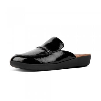 FitFlop™ style 'Serene' black crinkle Patent slip on